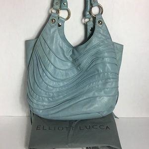 Elliott Lucca Light Blue Leather Wave Shoulder Bag